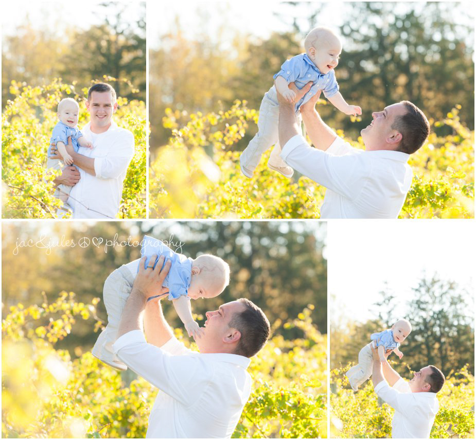 Dad playing with his son at Laurita Winery in NJ photographed by JacnJules