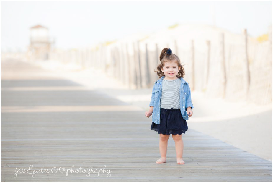 Classic shot of a beautiful little girl along the boardwalk of Lavalette Beach, NJ by JacnJules