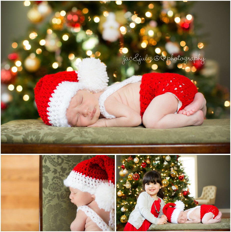 Newborn in crocheted Santa Christmas outfit by JacnJules in Monmouth, NJ