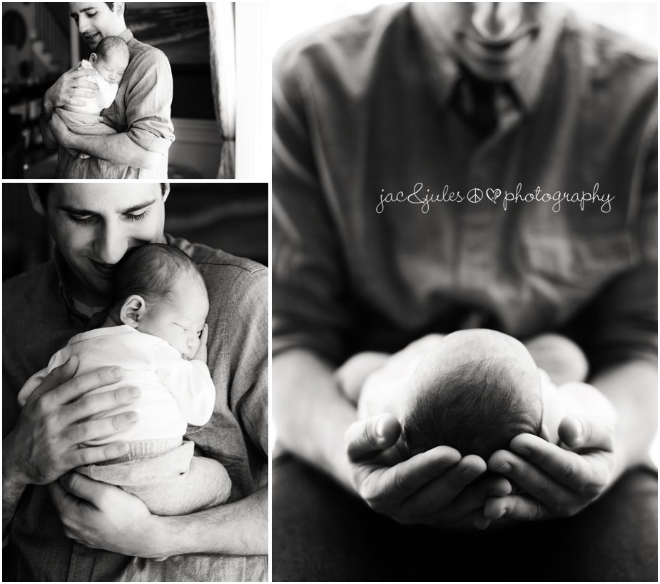 A father with newborn son photographed by JacnJules in Monmouth County, NJ