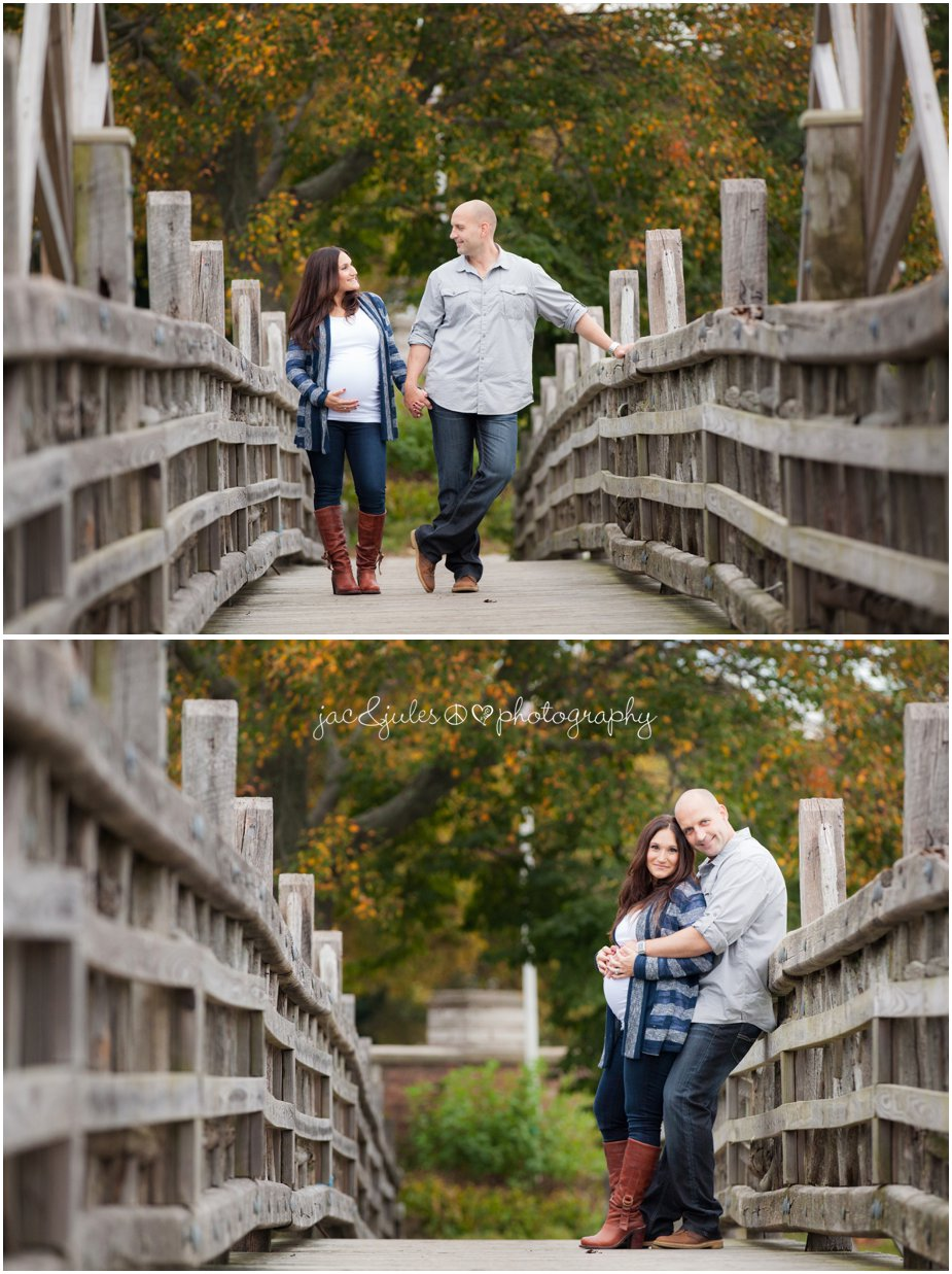 Maternity photos taken on bridge in Spring Lake, NJ by JacnJules