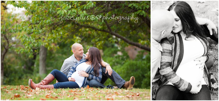 Loving photos of expecting couple during fall in the Spring Lake, NJ by JacnJules