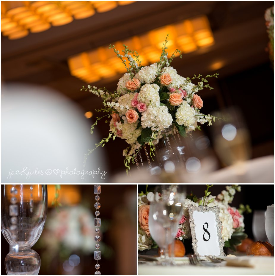 pink and peach wedding details at the heldrich hotel in new brunswick nj by jacnjules