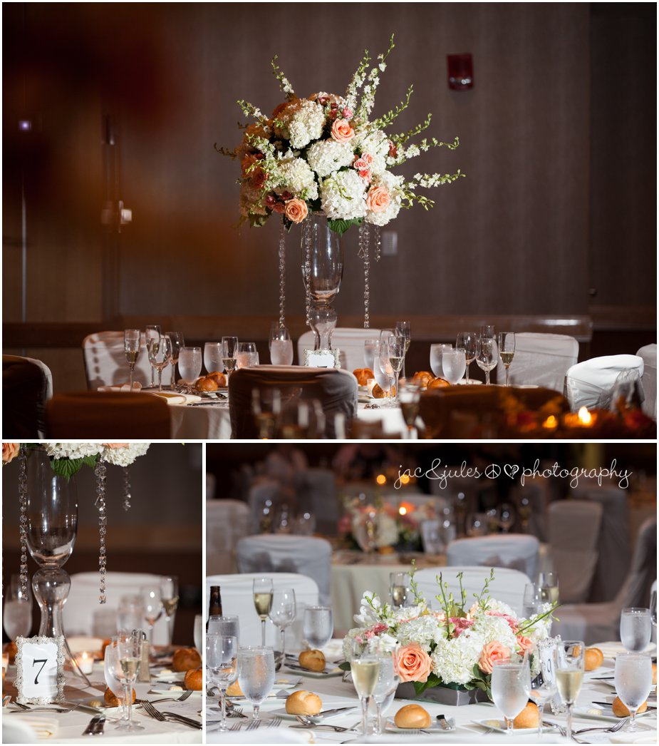 pink and peach wedding flowers at the heldrich hotel in new brunswick nj by jancjules
