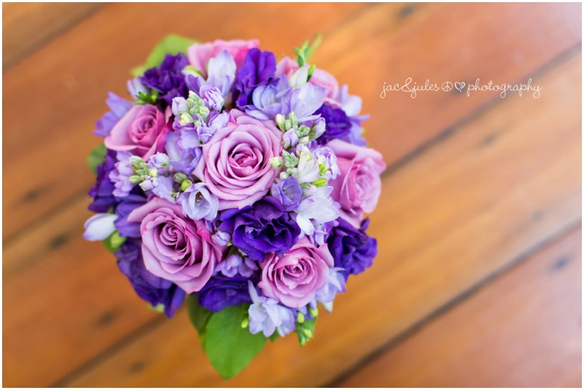 Beautiful bouquet of gorgeous purple flowers by JacnJules at the Mansion at Bretton Woods in Morristown, NJ