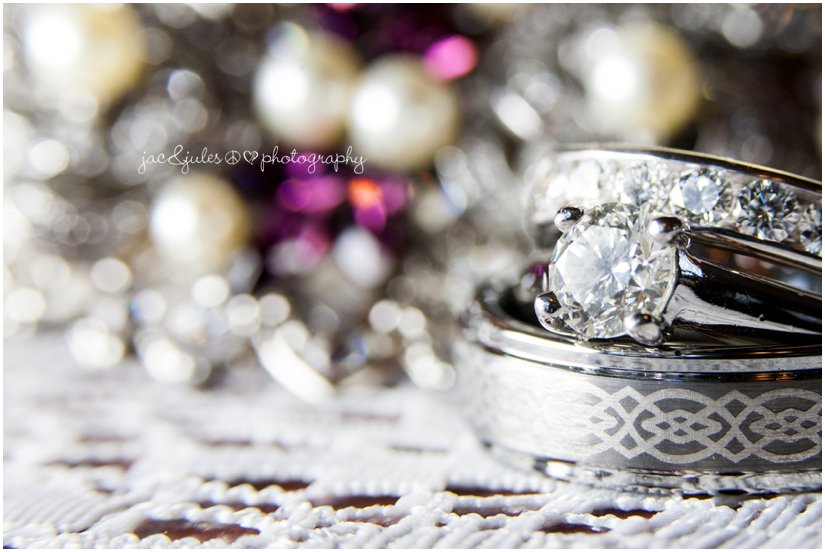 Amazing detail photo of wedding bands photographed by JacnJules at the Mansion at Bretton Woods in Morristown, NJ