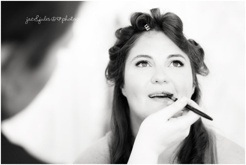 Bride getting make up applied at the Mansion at Bretton Woods in Morristown, NJ by JacnJules