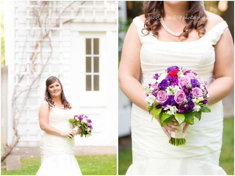 Gorgeous photos of bride and her purple wedding bouquet taken at the Mansion at Bretton Woods in Morristown, NJ by JacnJules
