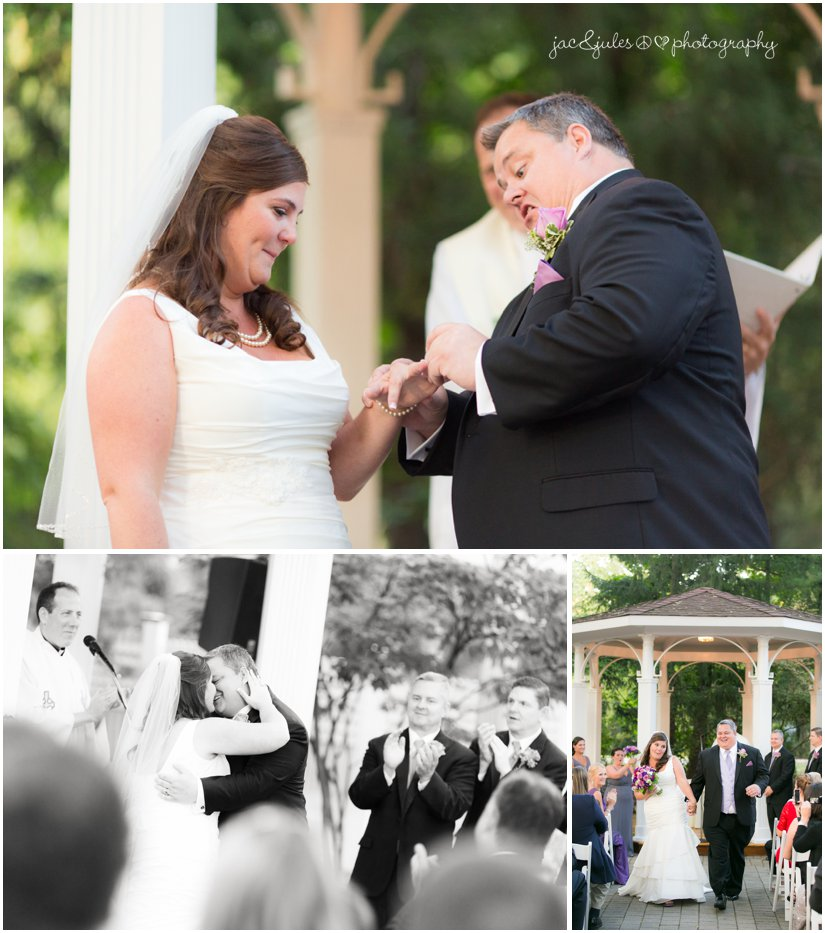 Photos of bride and groom during wedding ceremony taken by JacnJules at the Mansion at Bretton Woods in Miorristown, NJ