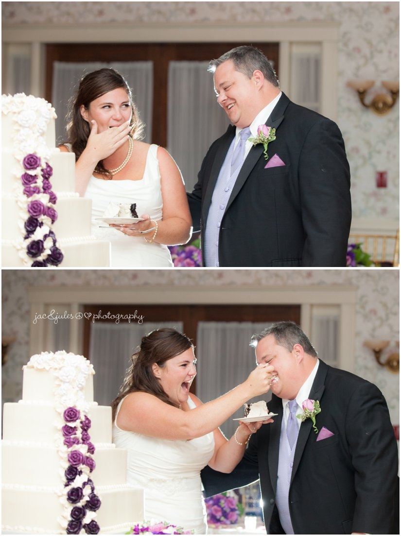 Just married bride and groom sharing wedding cake at the Mansion in Morristown, NJ by JacnJules