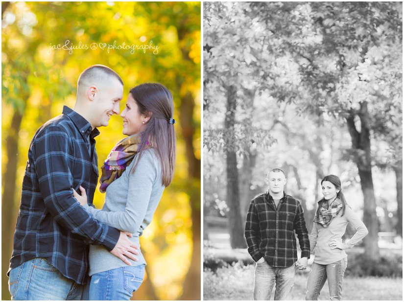 Fall engagement photo taken by JacnJules at Allaire State Park in NJ