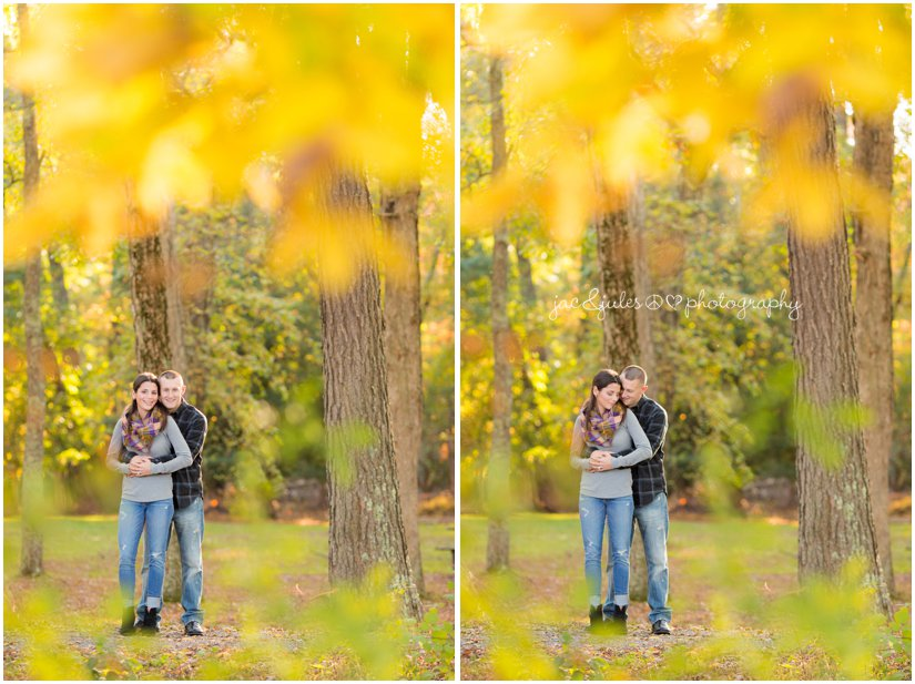 Engaged couple embracing photographed by JacnJules at Allaire State Park in NJ