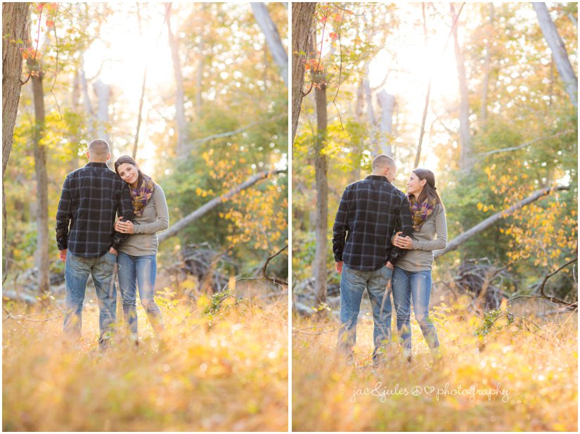 Engaged couple in the woods at Allaire State Park in NJ by JacnJules