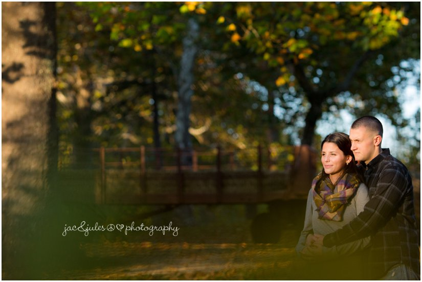 Candid photo of engaged couple photographed by JacnJules at Allaire State Park in NJ