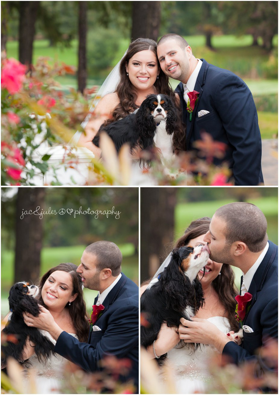 Bride and groom with their dog at Frogbridge in Millville, NJ by JacnJules