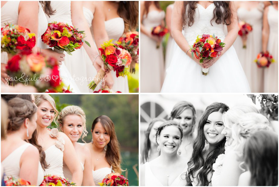 Candid shots of bridesmaids and their fall bouquets taken by JacnJules at Frogbridge in Millville, NJ