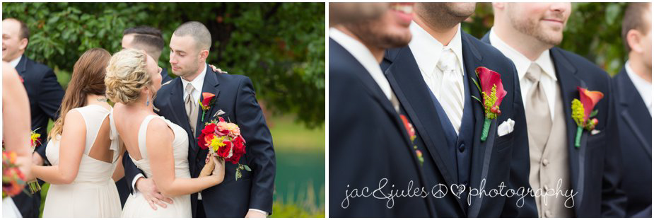 candid shots of bridal party taken at Frogbridge in Millville, NJ by JacnJules