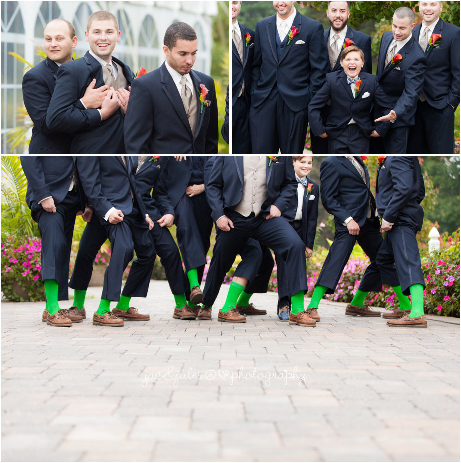 The grooms party getting silly before the wedding at Frogbridge in Millville, NJ by JacnJules