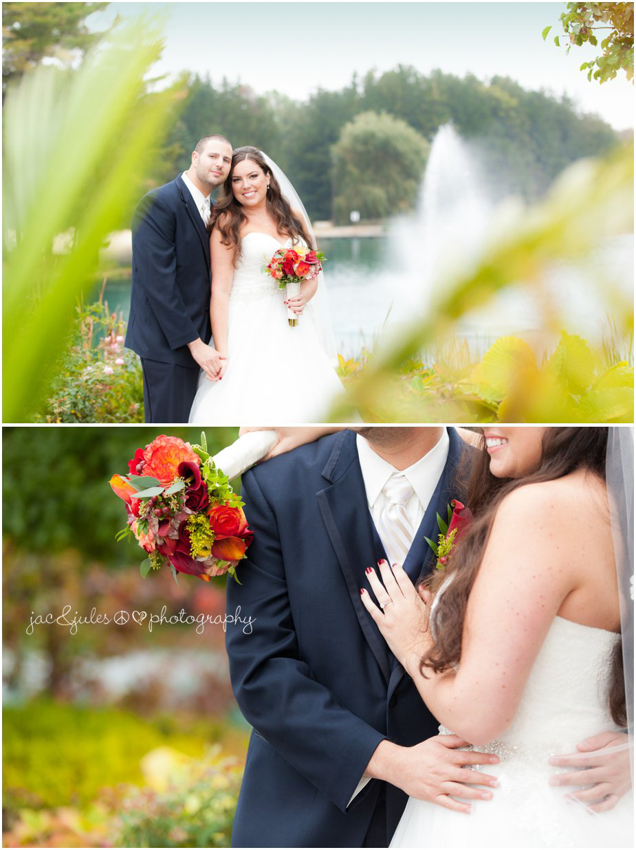 First look photos of bride and groom taken at Frogbridge in Millville, NJ by JacnJules