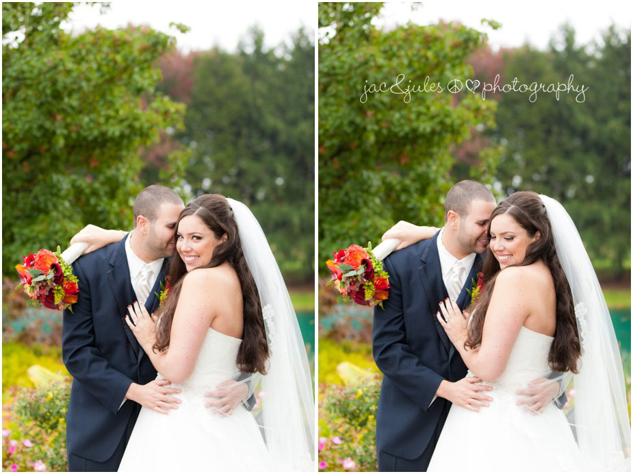 Modern and creative photos of bride and groom at Frogbridge in Millville, NJ by JacnJules
