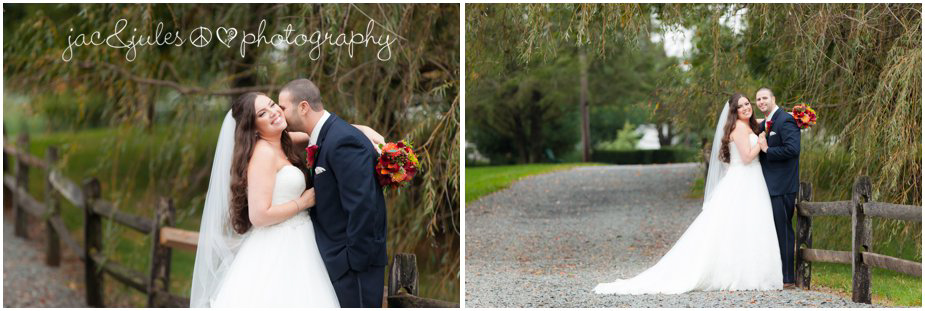 Romantic photographs of bride and groom at Frogbridge in Millville, NJ by JacnJules