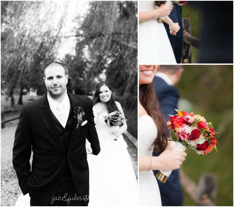 Bridge and groom holding hands in first look photos at Frogbridge in Millville, NJ by JacnJules