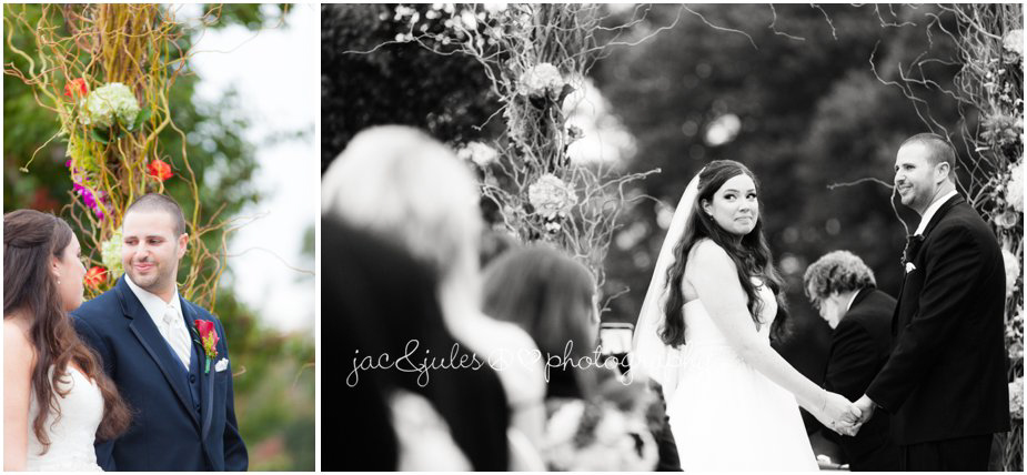 Bride and grroom saying their vows photographed by JacnJules at Frogbridge in Millville, NJ