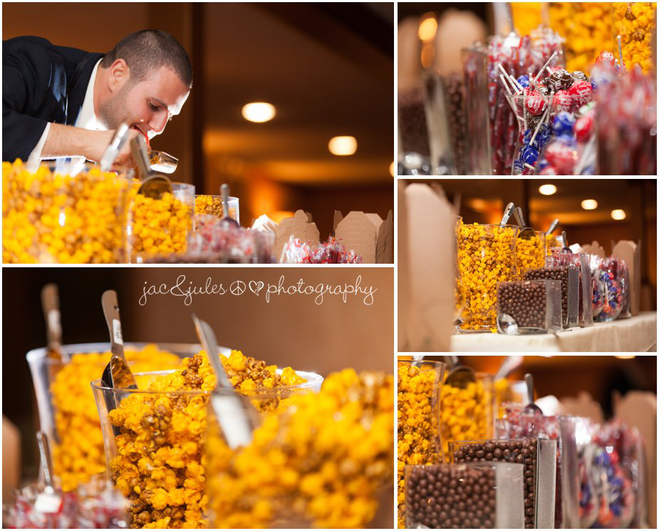 Detail wedding shot of candy bar at Frogbridge in Millstone, NJ photographed by JacnJules