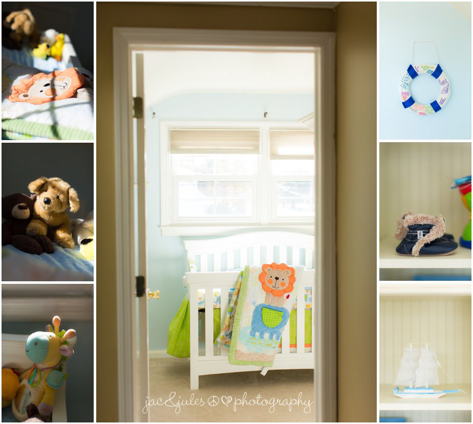 Detail photos of a newborn baby boy's room and toys in his Hazlet, NJ home by JacnJules