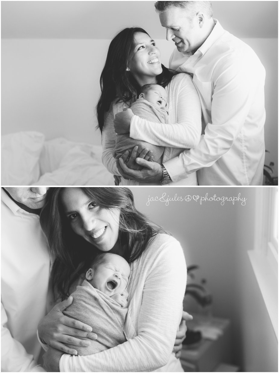 Modern black and white family portraits with newborn son in their Hazlet, NJ home by JacnJules