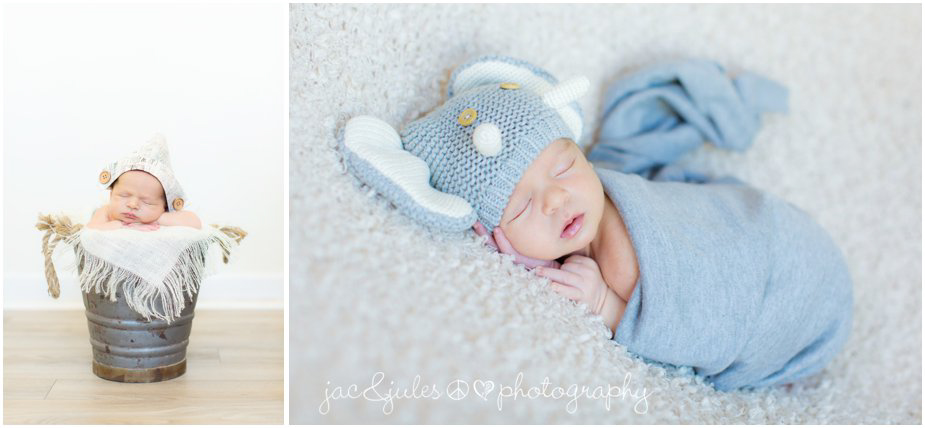 Newborn baby boy in crocheted elephant beanie photographed by JacnJules in Hazlet, NJ