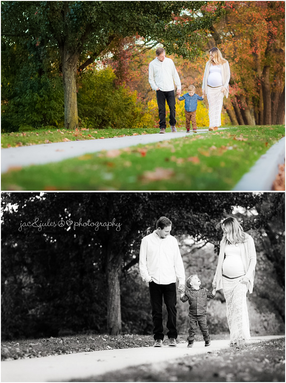 Candid family maternity photos of expecting family taking a stroll through beautiful Spring Lake in NJ by JacnJules