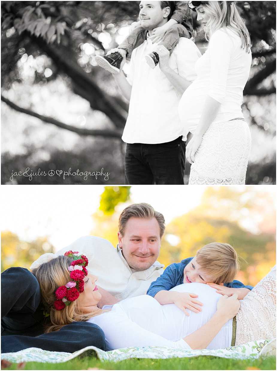 Candid and engaging family maternity photos taken at Spring Lake in NJ by JacnJules