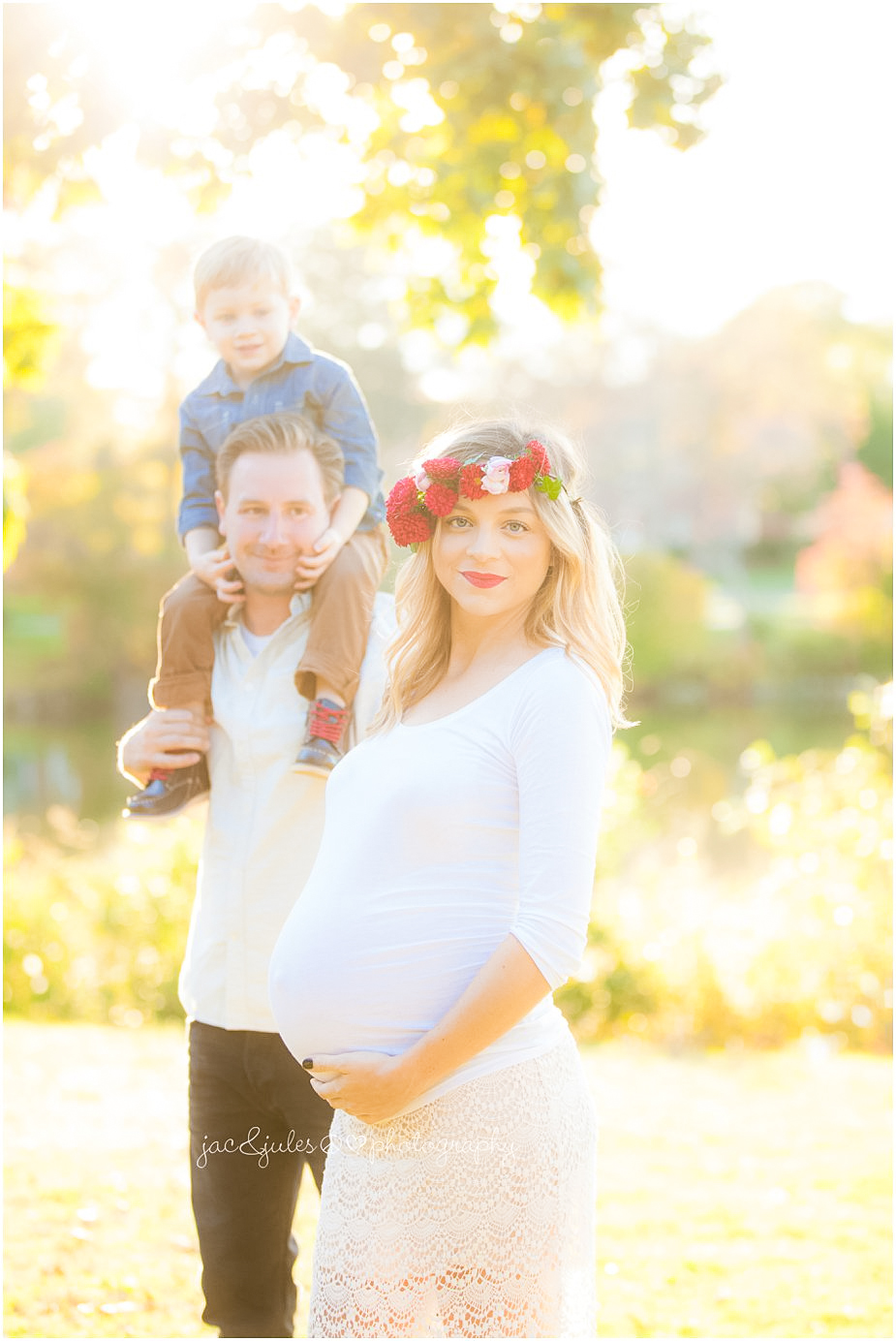 Beautiful family maternity photo taken by JacnJules photographed at gorgeous Spring Lake in NJ