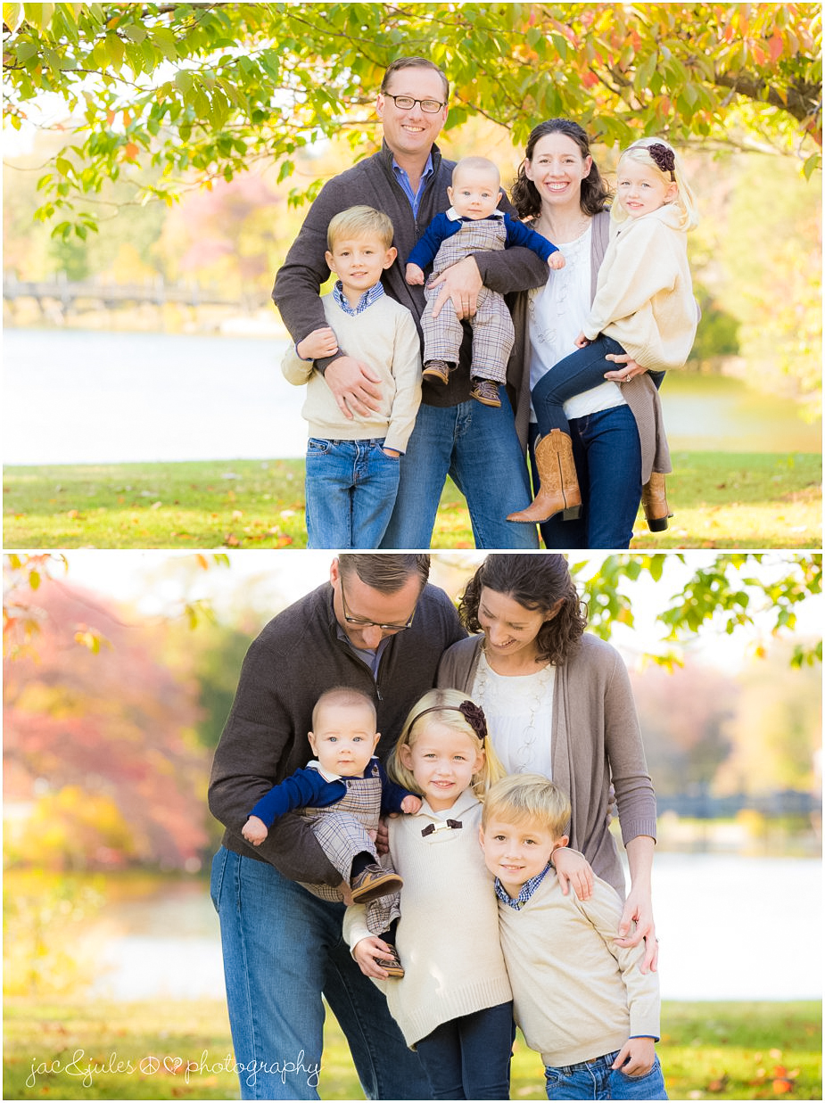 Beautiful fall family portrait at Divine Park in Spring Lake, NJ photographed by JacnJules