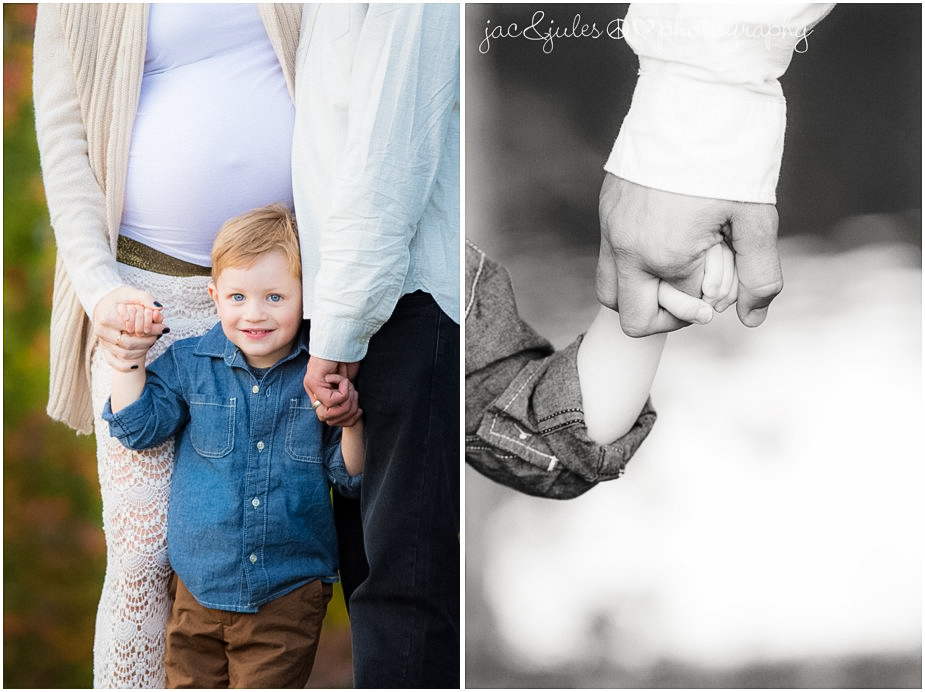 Creative maternity photo of soon to be big brother holding hands photographed by JacnJules at beautiful Spring Lake in NJ