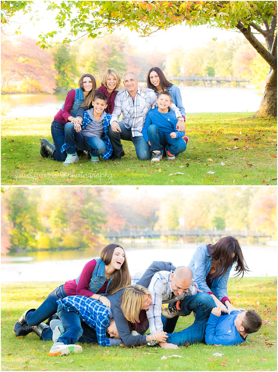 Modern and playful family photo taken at Divine Park in Spring Lake, NJ by JacnJules