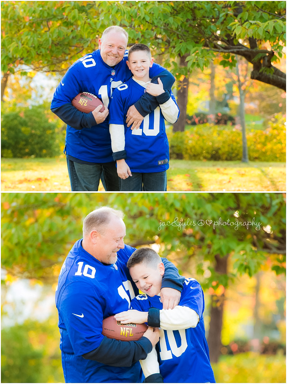 Dad and son in football jerseys photographed by JacnJules at Divine Park in Spring Lake, NJ