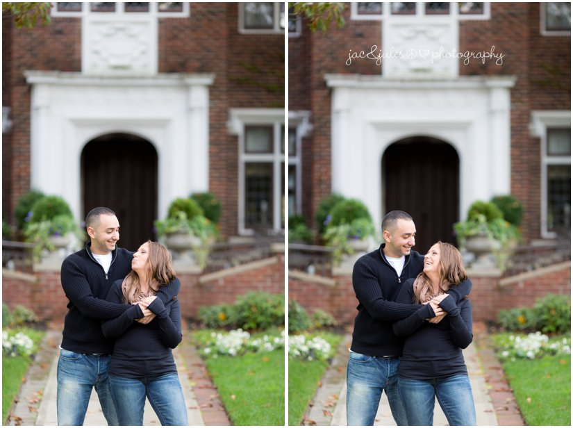 Playful shots of engaged couple in front of brick building in Spring Lake, NJ by JacnJules