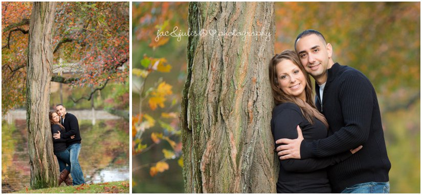 Adorable couple at fall engagement session in Spring Lake in NJ by JacnJules