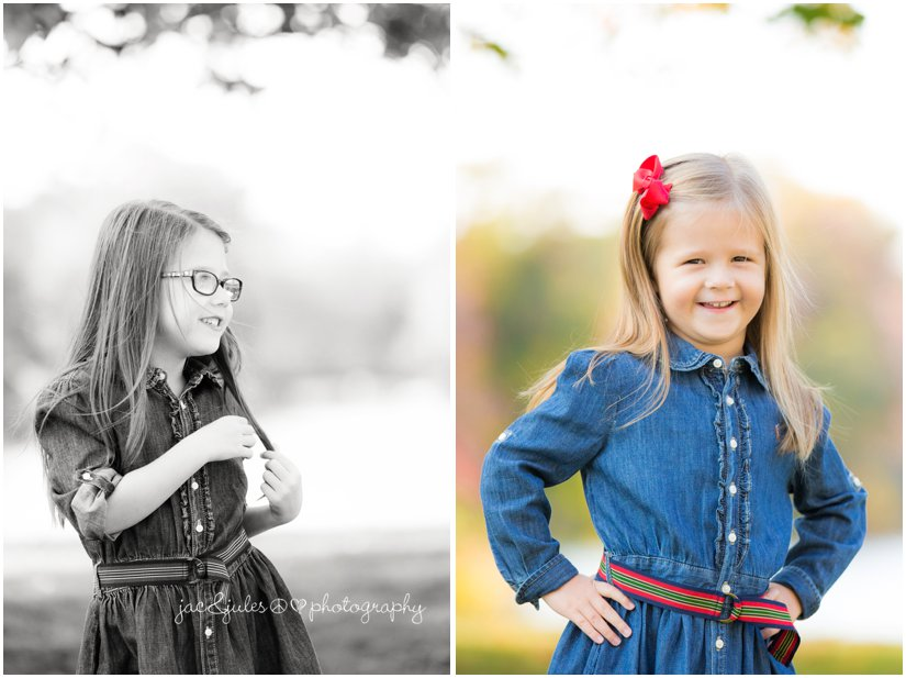 Photo of sisters in fall outfits taken at Divine Park in Spring Lake, NJ by JacnJules