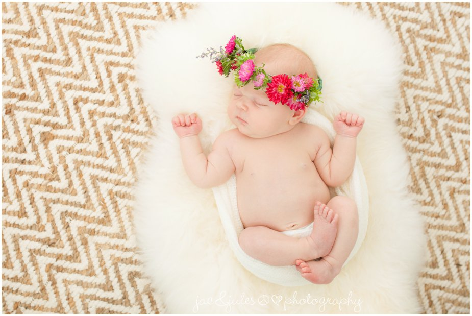 toms river in-home newborn photography with baby wearing floral crown from flowers by melinda, flower crown