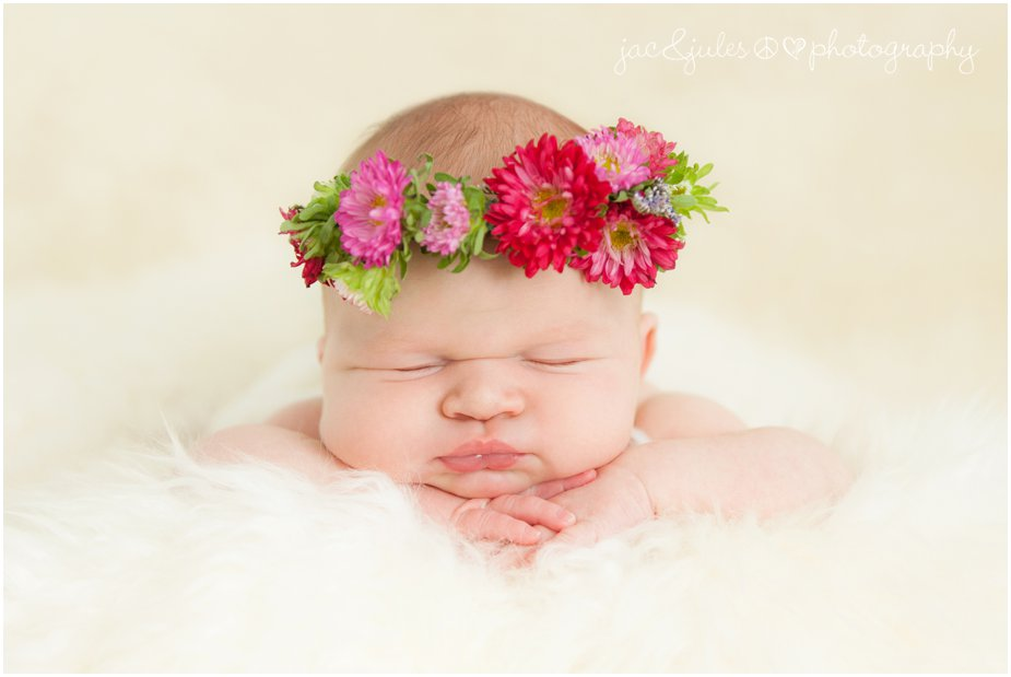 Toms river in home newborn photography with baby wearing floral crown from flowers by melinda