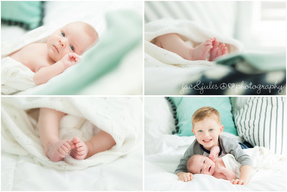 toms river in home newborn photography with sibling brother on a bed by jacnjules