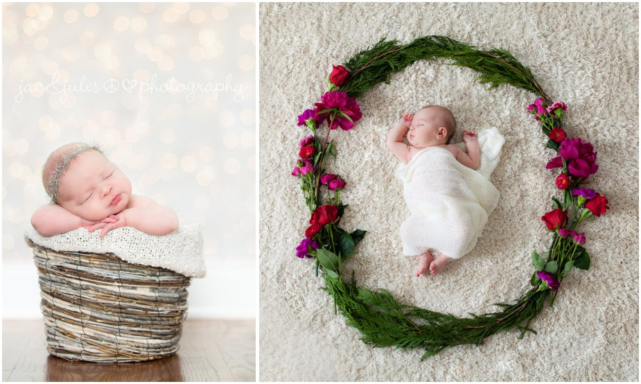 in home newborn photographer does christmas photos and a hipster style photo using a floral wreath