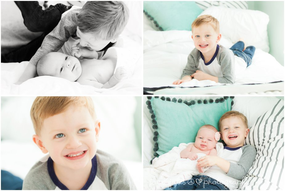 toms river in home newborn photography with siblings, brother and sister
