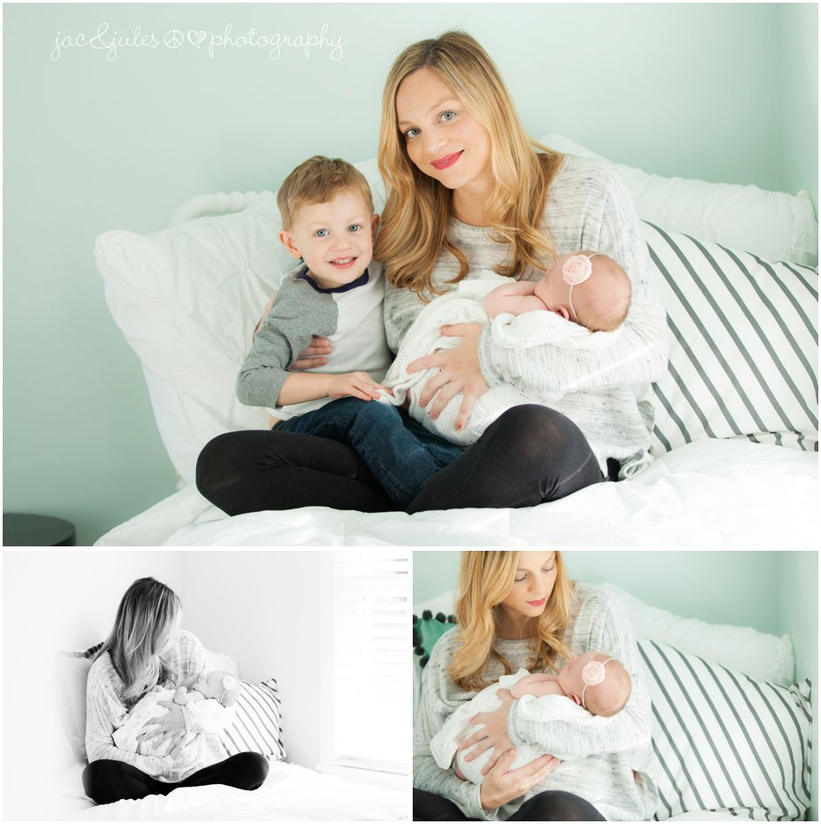 toms river in home newborn photography with mom on her bed by jacnjules