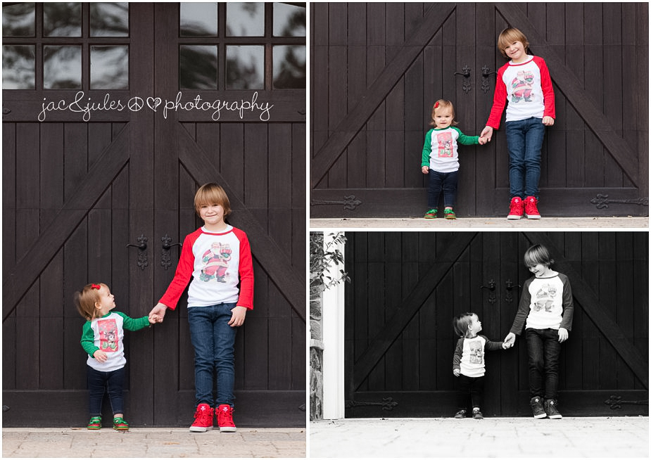 christmas pictures at their home with vintage tees