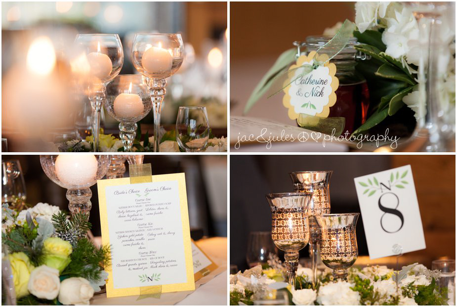 jacnjules photographs reception details, menu at ninety acres in peapack gladstone, nj