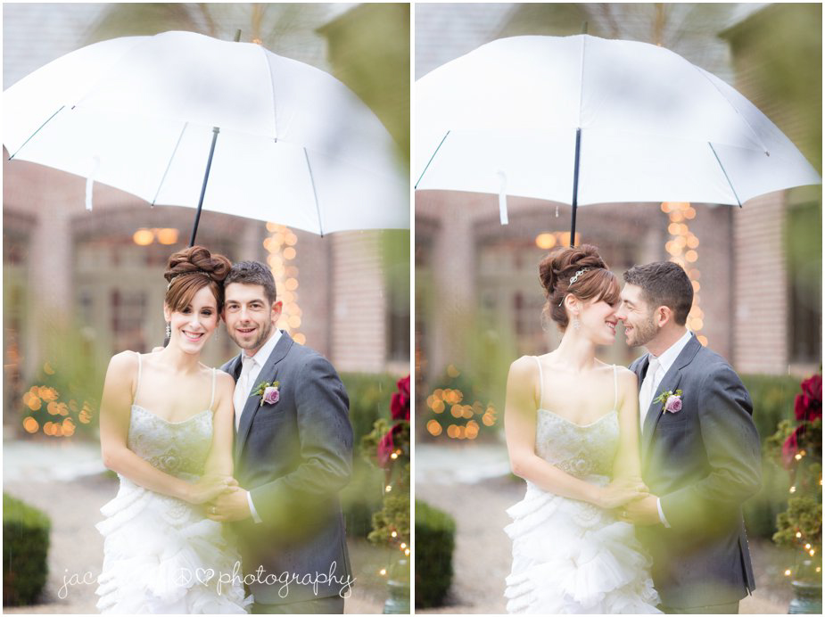 bride and groom portrait outside in the rain at ninety acres in peapack gladstone nj